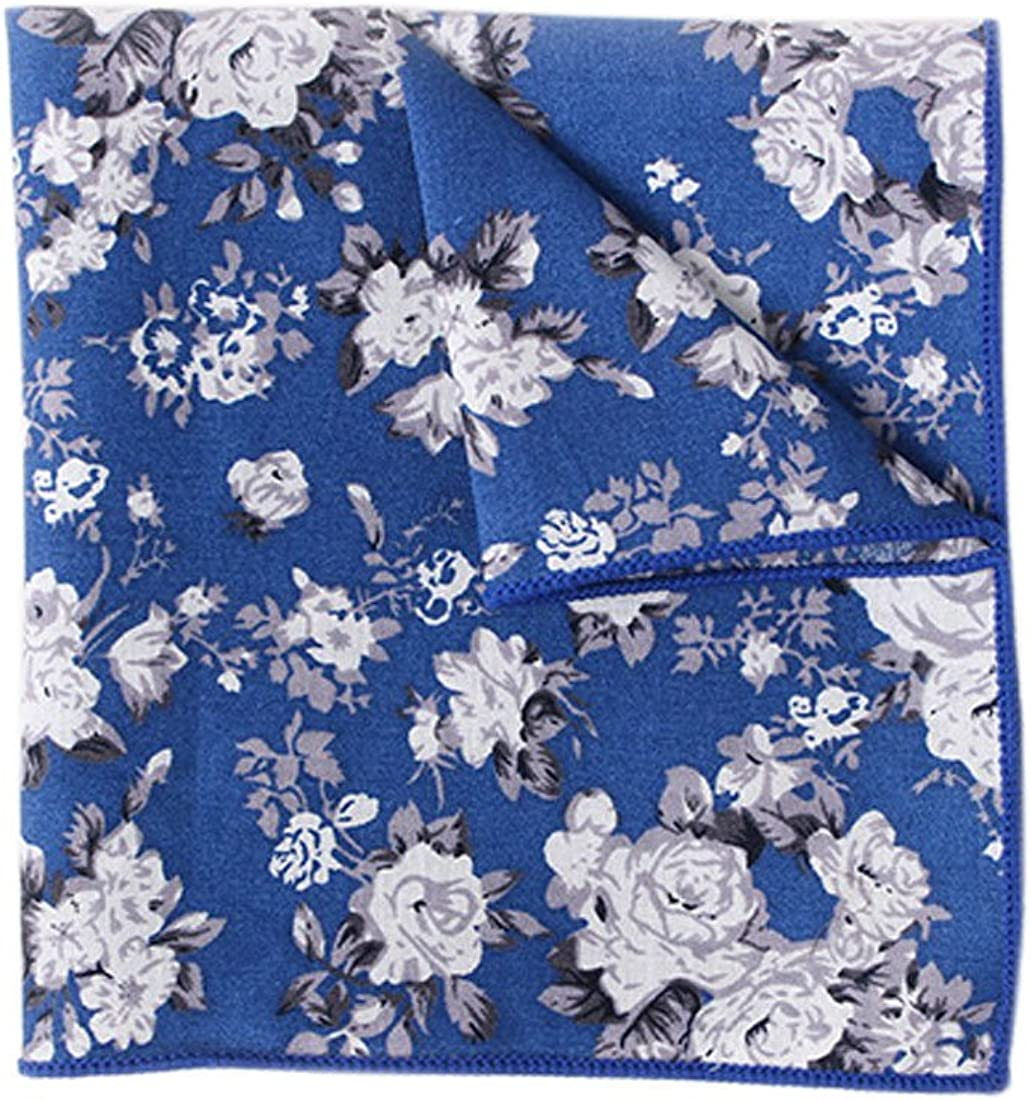 YueLian Mens Flowers Print Cotton Suit Pocket Handkerchief