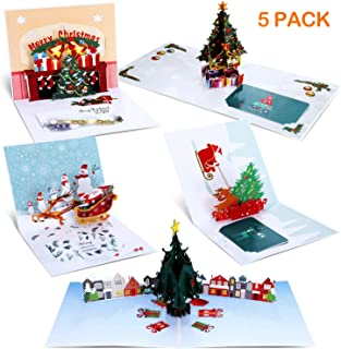 Frienda 5 Pieces 3D Pop Up Christmas Cards with Envelopes Santa Claus Christmas Tree Reindeer Shape Xmas Greeting Card for Christmas Gift Supplies