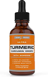 Turmeric Curcumin with Bioperine Drops offering Best Absorption. Turmeric Extract with Black Pepper for Bac...