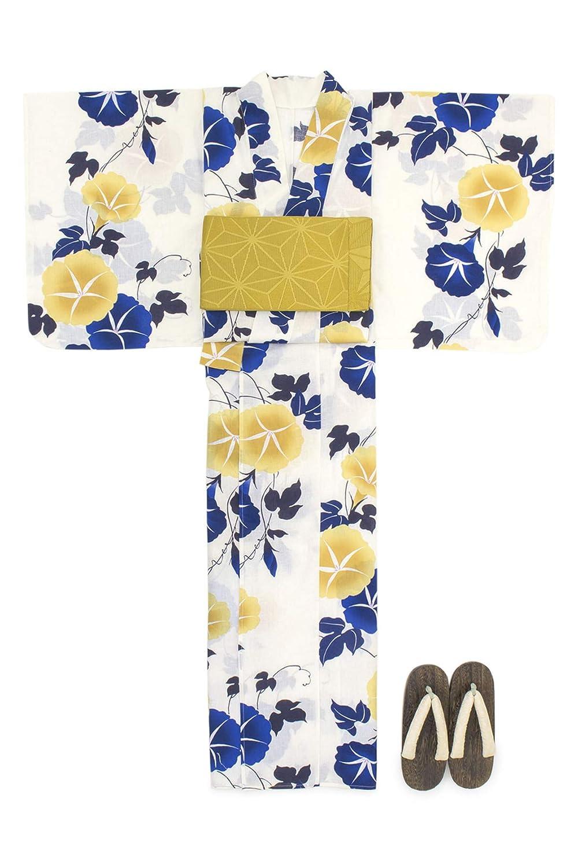 (ソウビエン) 浴衣 セット レディース 白系 オフホワイト 黄色 紺色 朝顔 花 綿麻 半幅帯 マクレ ボヌールセゾン