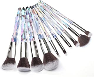Adpartner 10PCS Makeup Brushes Set, Unique Crystal Wand Handle Cosmetic Brush Professional Kabuki Foundation Concealer Blush Eye Shadow Makeup Tools - B