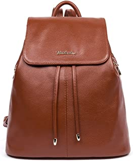 BOSTANTEN Vintage Women's Leather Backpack Casual Daypack Handbags for Ladies & Girls Brown