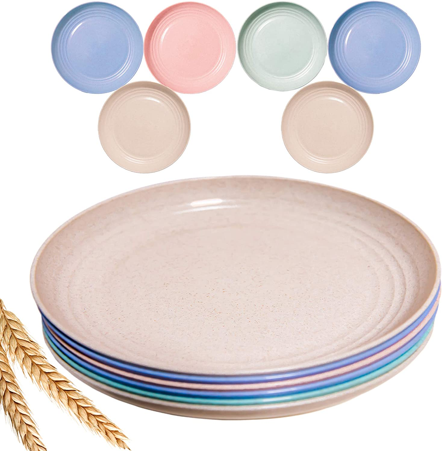 AECO Same day shipping 10 Inch Lightweight Wheat Straw Dinnerware of set High order Plates 6