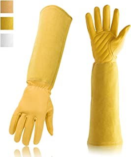 Gardening Gloves Professional Rose Pruning Thorn & Cut Proof with Long Forearm Protection for Women/Men Durable Thick Cowhide Leather Work Garden Gloves (Medium, Yellow)
