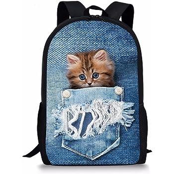 Showudesigns Cute Kitty Kids Crossbody Bags Cat Print Children Messenger-bags