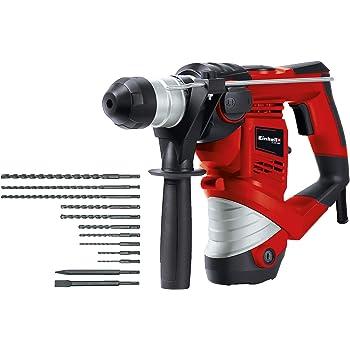 Einhell Bohrhammer TC-RH 900 Kit (900 W, 4100 min.-1 Schlagzahl, 3 J Schlagstärke, Hammerbohren, Bohren und Meißeln mit Meißelfixierung, inkl. 12-teiligem Bohrer- & Meißelset, Koffer)