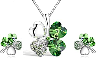 Four Leaf Clover Necklace - Green St.Patrick's Day Shamrock Jewelry - Good Luck - Green Clover Necklace, Earrings, Bracele...