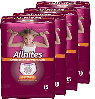 Allnites Overnight Underwear for Girls, Small/Medium, (15-Count), Pack of 4