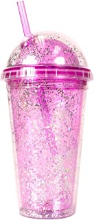 Bewaltz Personalized Glitter Tumbler Double wall, 16 oz, Travel Mug, Plastic Drink Cup, Shake Tumbler, Insulated Tumbler, Reusable Cup with Straw & Lid, BPA Free, Party Gifts, Birthday Gifts, Purple
