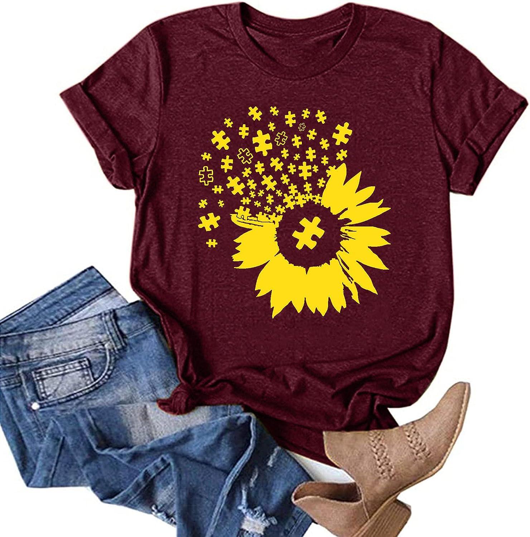 Jaqqra Summer Tops for Women, Womens Short Sleeve Tops Sunflower Print Round Neck T-Shirts Basic Tunic Tee Top