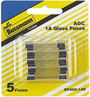 "Bussman BP/AGC-1-RP 1 Amp 1/4"" X 1-1/4"" Fast-Acting Glass Tube Fuses 5 Count"