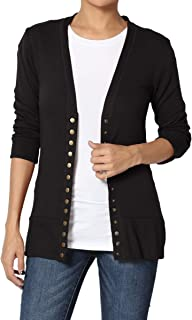 Women & Plus Classic Snap Button Front V-Neck 3/4 Sleeve Knit Cardigan