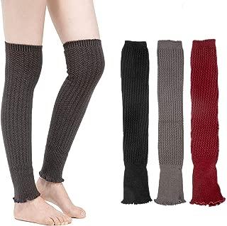 3 Pairs Winter Knee High Leg Warmers- Long Leg Knit Warm Winter Sleeves Thermal Women Girls Party Sports (Grey, Black, Red)