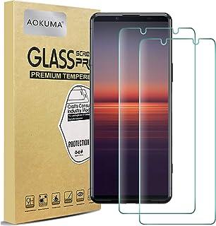 AOKUMA Sony Xperia 5 II skärmskydd i härdat glas, [2-pack] skyddsfilm av högsta kvalitet, fodralvänlig, bekväm rund kant, ...