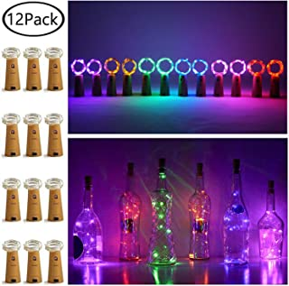 12 Pack 20 LED Wine Bottle Cork Lights, Fairy Mini String Lights Copper Wire, Battery Operated Starry Lights for DIY, Christmas, Halloween, Wedding, Party, Indoor&Outdoor (12 Pack- 20 LED, 6 Colors)