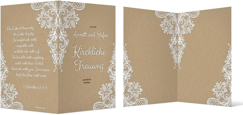 100 x Kirchenheft Hochzeit individuell Klappkarte - Rustikal Kraftpapier Look B077Y21YQ4    Vorzügliche Verarbeitung