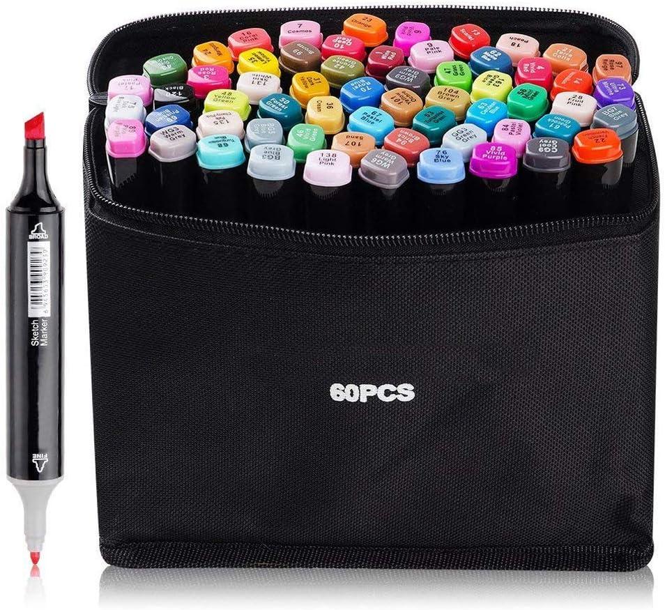 Marcadores de arte permanentes de 60 colores, marcador doble, punta fina, diseño de animación negro, para dibujar y colorear con bolsa negra