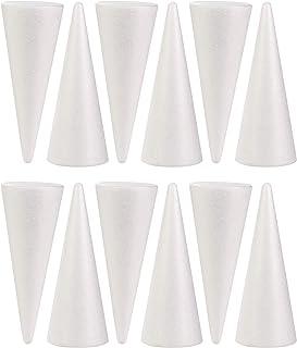 Styrofoam Cones, 12-Pack Craft Foam Cones, Polystyrene Foam Cones for Crafts, 3 x 3 x 7.67 Inches