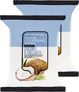 Body Prescriptions 2 Pack (30 Count Each) Coconut and Collagen Facial Cleansing and Gentle Make Up Remover Wipes
