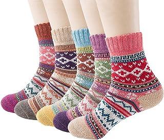 WKTRSM, Calcetines Termicos Mujer Invierno Navidad Calcetines Divertidos Gruesa Suave Cómodo Calcetines de Lana Cálidos Casual Calcetines de Punto, 5 Pares