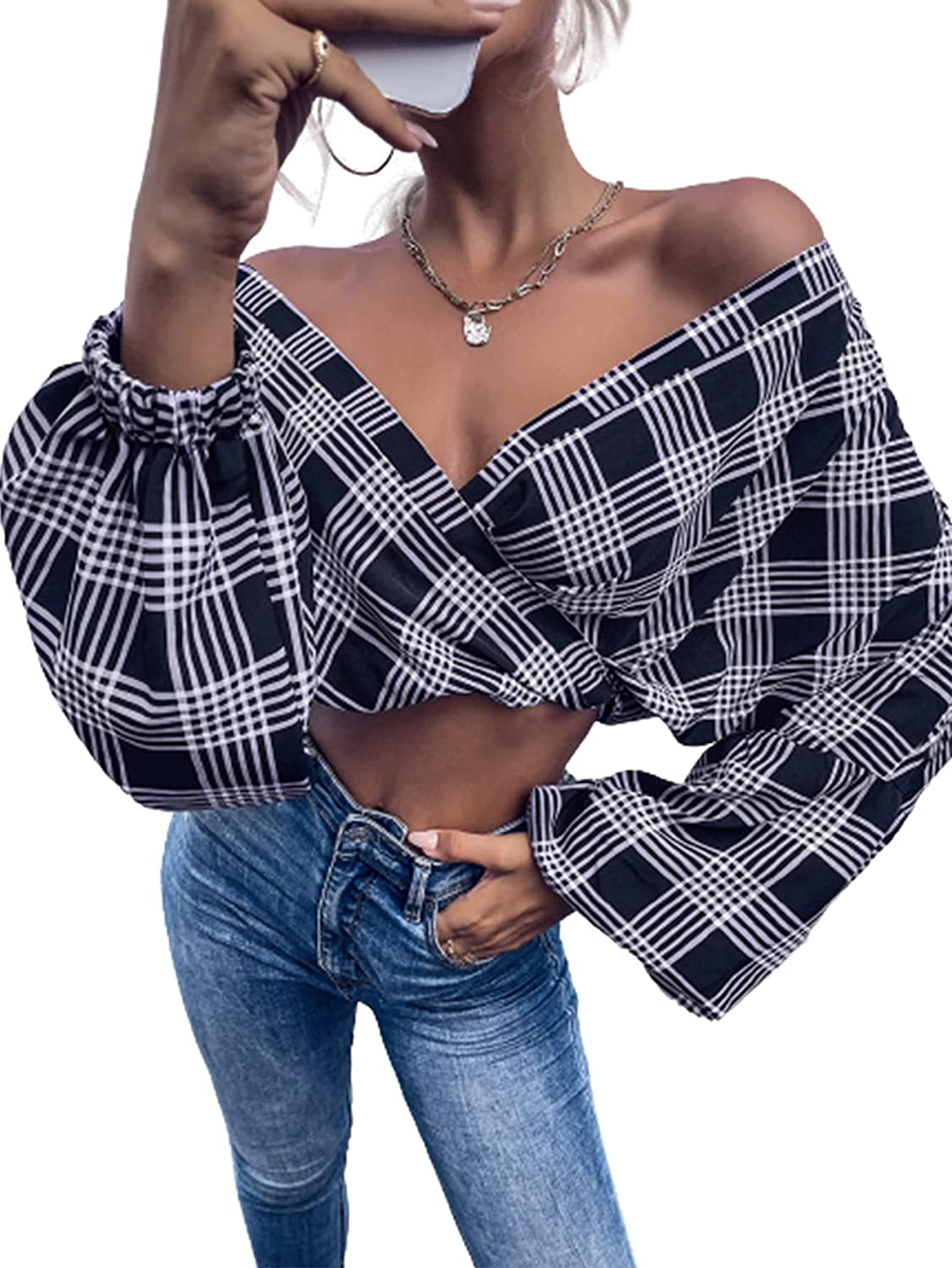 Romwe Women's Oversized Plaid Long Sleeve Button Down Flannel Shirts