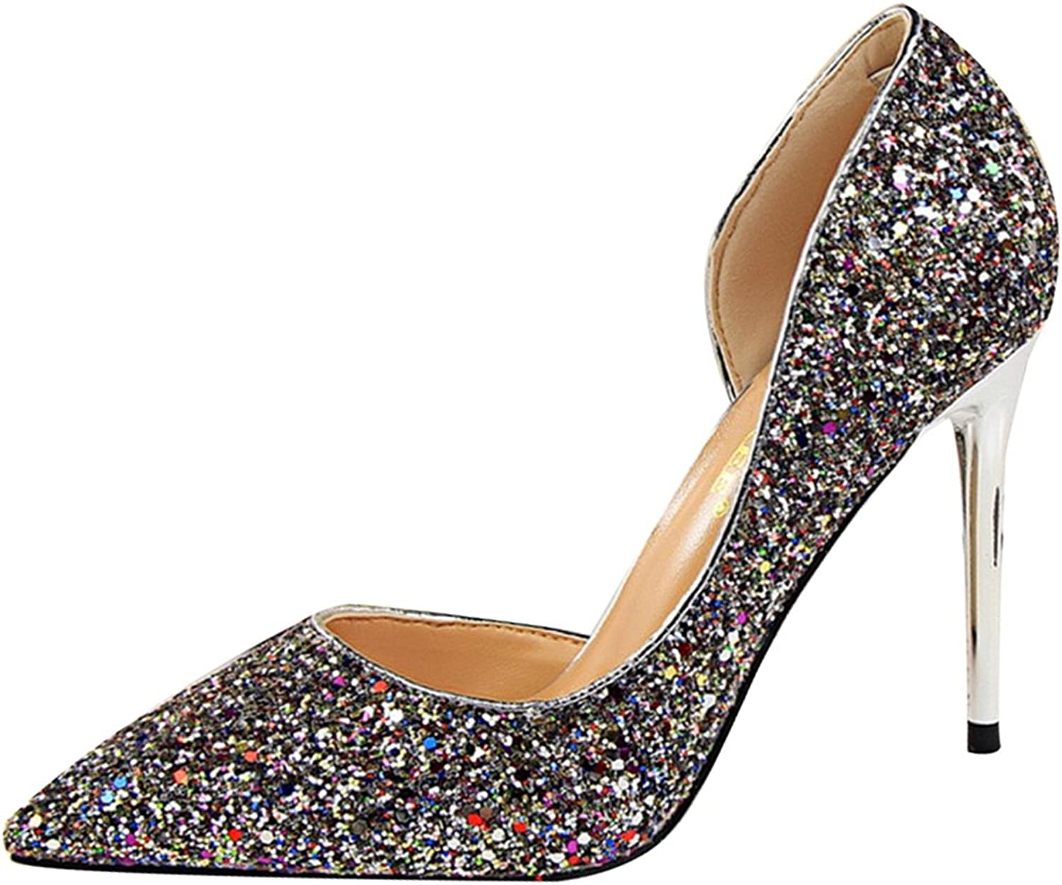 Owen Moll Women Pumps, Sequined Cloth Shallow Side Cut-Outs Pointed Toe Sandal shoes