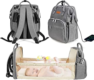 Meshela 3 in 1 Foldable Baby Backpack Diaper Bag with USB Charging Port, Waterproof Diaper Backpack for Mom, Large Capacit...