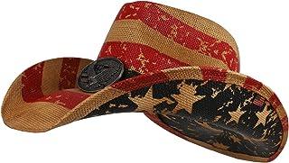 Armycrew American Flag Western Toyo Cowboy Hat with Eagle Badge