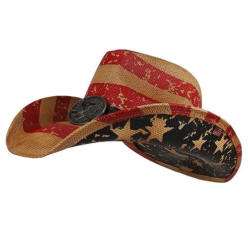 b5c4df86bf9db6 Armycrew American Flag Western Toyo Cowboy Hat with Eagle Badge