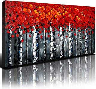 Red Forest Picture Living Room Decoration for Home Walls Framed Abstract Canvas Art Nature 3D Print Oil Painting Artwork B...