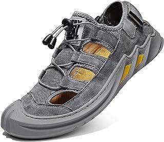 Sandales de Sport pour Hommes Marche Randonnée Été Extérieur Trekking Plage Chaussures Fermé Ajustable Cordon Respiran