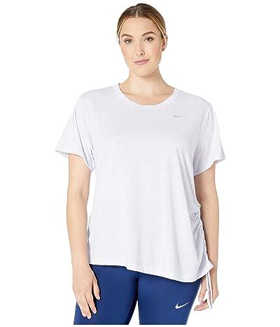 Nike Miler Top Short Sleeve Cinch (Size 1X-3X) (Lavender Mist/Heather/Reflective Silver) Women