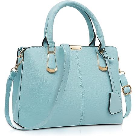 Pahajim handtaschen damen PU Leder Gut Gestaltete Groß Handtaschen Damen Mode Elegant Mhängetasche Damen schultertasche damen Für Arbeit, Reisen und Einkaufen(hellblau)