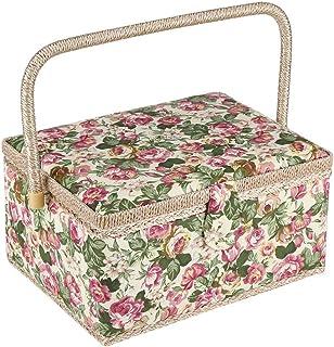 Jacksking Panier à Coudre, boîte à Couture imprimée Florale en Tissu boîte Artisanale Fournitures de Couture Organisateur ...