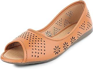 YAHE Women's Casual Faux Leather Flat Open Toe Official Belly Shoe Y-34