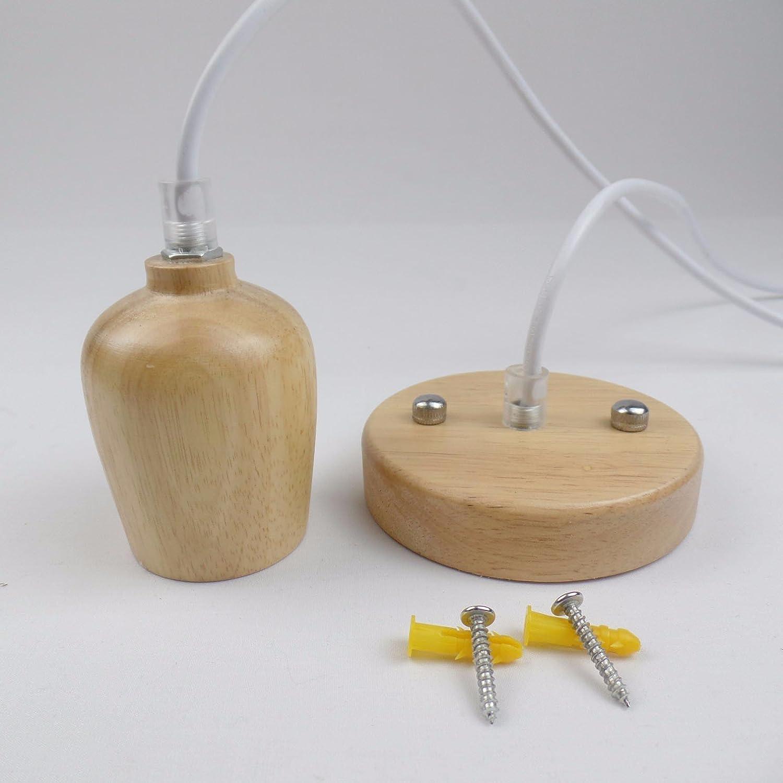 LighSCH Pendelleuchten Kronleuchter Massivholz Lampenkopf Suspension Kabel weiss 6cm Home Beleuchtung