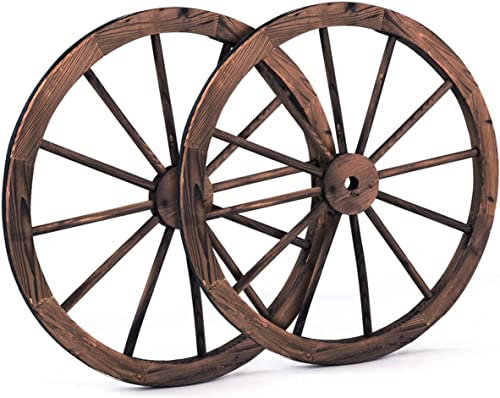 lowest Giantex 30-Inch Set of Two Decorative Wooden Wheel, Decorative Wall Old Western Style Wooden Garden Wagon Wheel with Steel Rim, Fir wholesale Treated by Carbonization, Suitable for Bar, online Studio and Home (30'') outlet sale