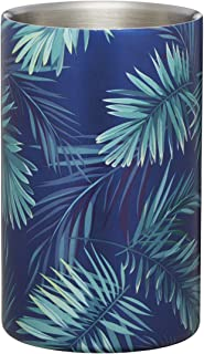 BarCraft BCWCPALM Wine Cooler with Palm Tree Leaf Print, Stainless Steel, Green and Blue