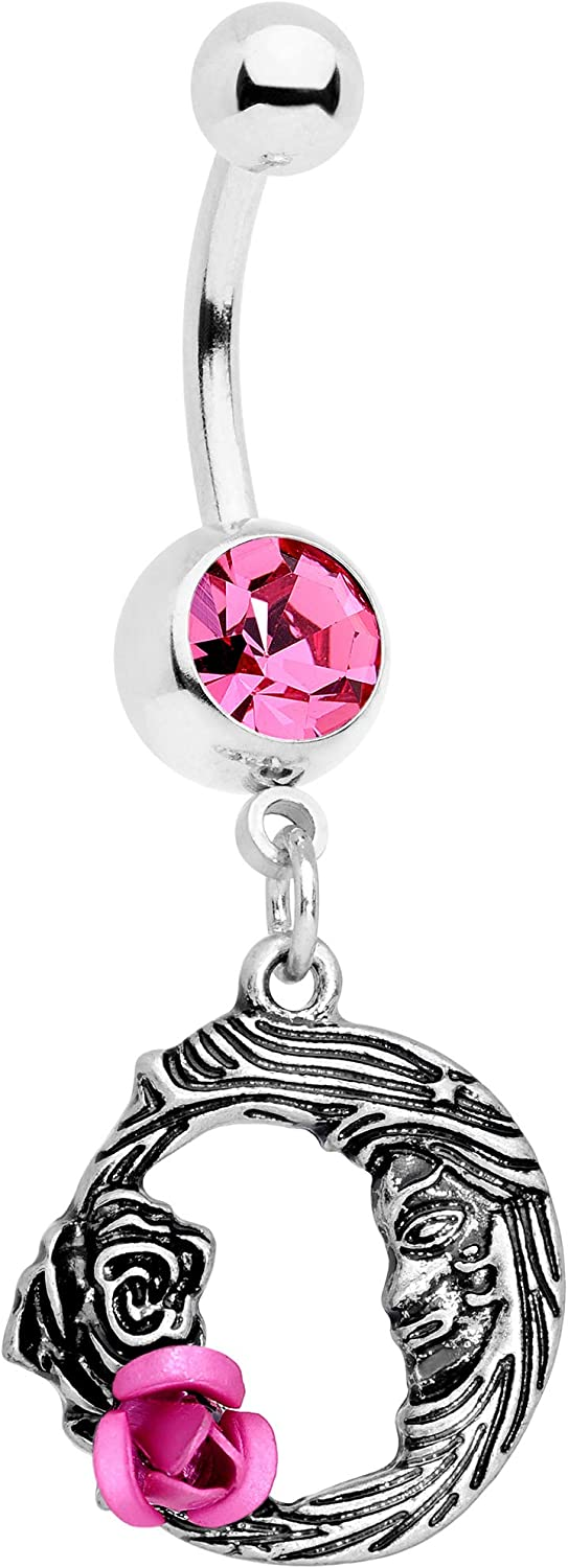 Body Candy Womens 14G 316L Steel Navel Ring Piercing Color Accent Rose Flower Moon Belly Button Ring