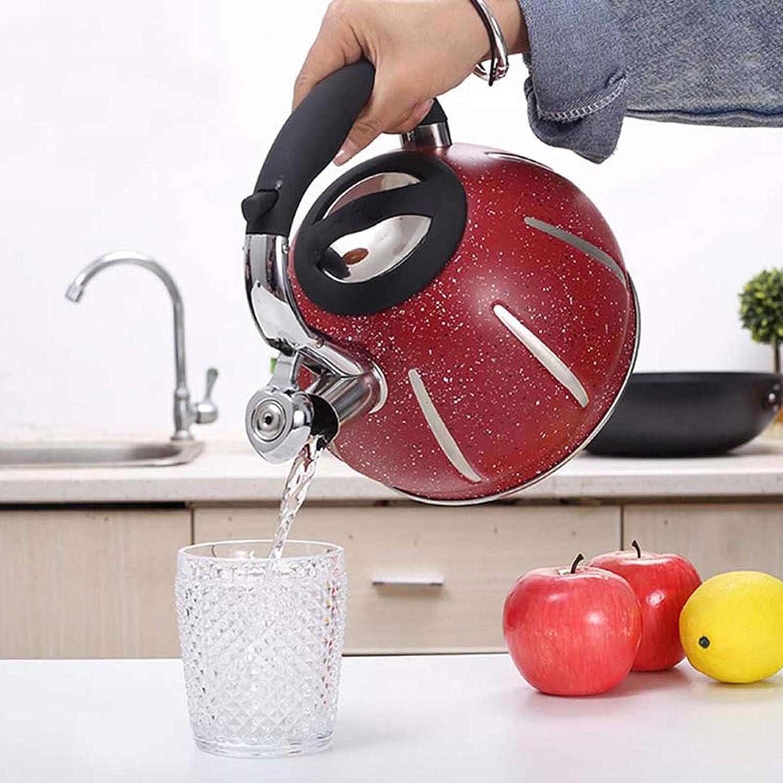Waterkoker, roestvrijstalen fluit theepot met ergonomische hittebestendige handgreep, geschikt voor thee, koffie en verwarmde melktheepot 3L rood (kleur: rood, maat: Red