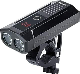 TANSOREN LED Display USB Rechargeable Bike Headlight, Built-in Power Bank, 2000 Lumens LED Bicycle Light Upgrade Aluminum Alloy Front Bike Light Base