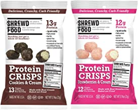 Shrewd Food Sweet Variety Pack Protein Crisps 8 Pack | High Protein, Low Carb, Gluten Free Snacks | No Artificial Flavors | Soy Free, Peanut Free | Includes Cookies & Cream + Strawberries & Cream