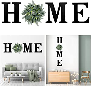 Wood Home Sign Wall Decor with Artificial Eucalyptus Wreath, Rustic Home decor Wooden Home Letters for Wall Art, Modern Farmhouse Home Wall Sign for Living Room Kitchen Entryway Housewarming Gift