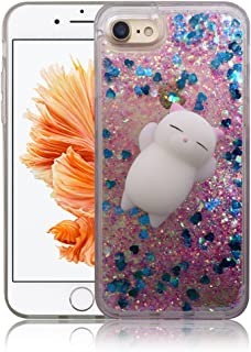 iPhone 7 / iPhone 8 Case, Yizhi Glitter Squishy Phone Case, Finger Pinch 3D Cat Toy Sparkle Bling Liquid Floating Quicksand Diamond Proctive Cover for iPhone 7/8 (Rose Blue Love)