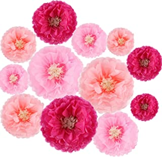12 Pieces Paper Flower Decorations Tissue Paper Chrysanth Flowers DIY Crafting for Wedding Backdrop Nursery Wall Decoration