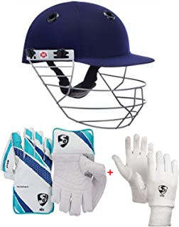 Sports Team Cricket Kit Combo of SS Prince Helmet, Medium & SG Club Wicket Keeping Gloves for Men Size