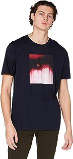 BOSS Hommes Tiris 1 T-Shirt en Coton Pima délavé à imprimé mélangé