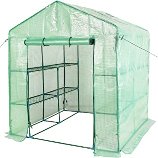 Sundale Outdoor Gardening Large 2 Tier 8 Shelf Steeple Walk in Plant Green House with PE Cover, 56.5