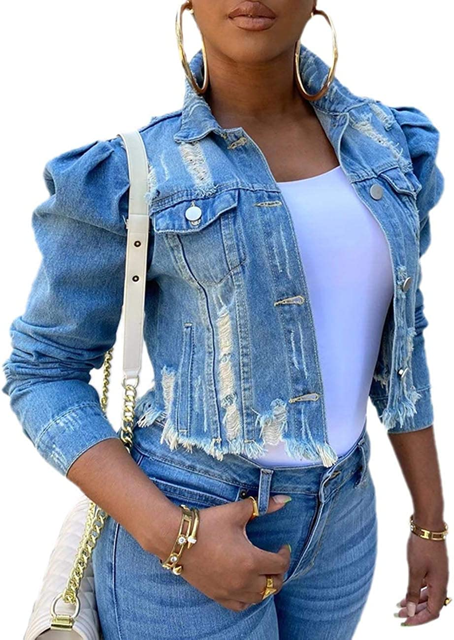 Sexyshine Women's Stylish Puff Sleeve Distressed Ripped Frayed Slim Fit Crop Top Short Denim Jean Jacket