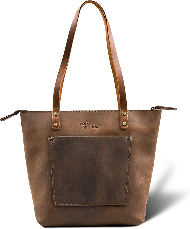 Personalized Leather Tote Bag for Women | Everyday Work Tote by PEGAI | Leather Purse | Shoulder Bag | LASALLE (Mini, Premium, Chestnut)